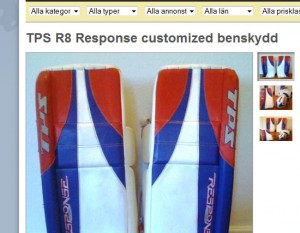 Skärmdump från hockeyfynd med en annons med flera bilder